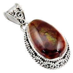 14.88cts natural multi color mexican fire agate 925 silver pendant r15988
