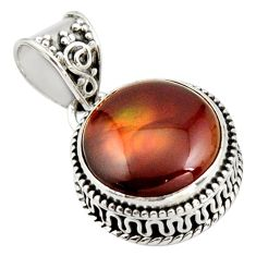 11.19cts natural multi color mexican fire agate fancy 925 silver pendant r15992