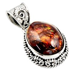 925 silver 9.65cts natural multi color mexican fire agate fancy pendant r15999