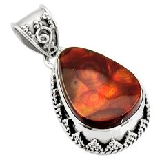 15.44cts natural multi color mexican fire agate 925 silver pendant r16000