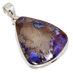 40.66cts natural brown boulder opal 925 sterling silver pendant jewelry r16001
