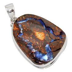 35.52cts natural brown boulder opal 925 sterling silver pendant jewelry r16002