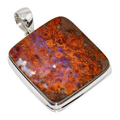 53.31cts natural brown boulder opal 925 sterling silver pendant jewelry r16003