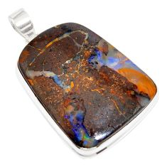 925 sterling silver 53.16cts natural brown boulder opal pendant jewelry r16008