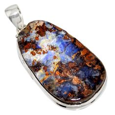 43.49cts natural brown boulder opal 925 sterling silver pendant jewelry r16009