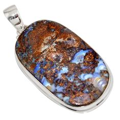 36.09cts natural brown boulder opal 925 sterling silver pendant jewelry r16010