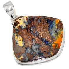 925 sterling silver 38.45cts natural brown boulder opal fancy pendant r16011