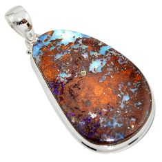 39.70cts natural brown boulder opal 925 sterling silver pendant jewelry r16013