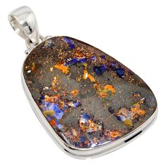 40.66cts natural brown boulder opal 925 sterling silver pendant jewelry r16017