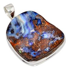 925 sterling silver 39.50cts natural brown boulder opal pendant jewelry r16019