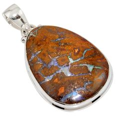925 sterling silver 27.68cts natural brown boulder opal pendant jewelry r16024