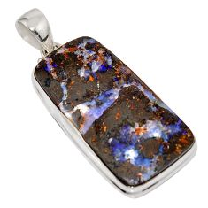 37.72cts natural brown boulder opal 925 sterling silver pendant jewelry r16026