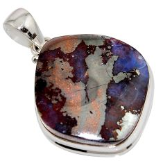 37.13cts natural brown boulder opal 925 sterling silver pendant jewelry r16030