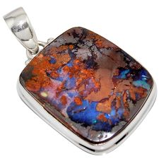 925 sterling silver 31.56cts natural brown boulder opal pendant jewelry r16032