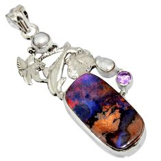 19.56cts natural brown boulder opal amethyst 925 silver dolphin pendant r16221