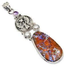 925 silver 22.07cts natural boulder opal amethyst eagle charm pendant r16224