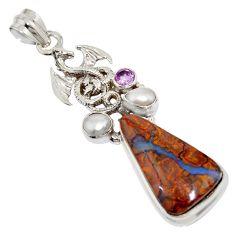 925 silver 21.32cts natural brown boulder opal amethyst dragon pendant r16228