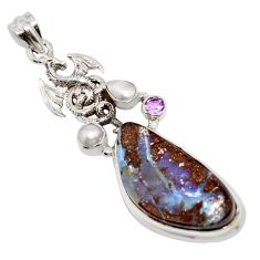 25.05cts natural brown boulder opal amethyst 925 silver dragon pendant r16230