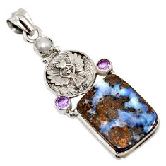 21.30cts natural brown boulder opal amethyst eagle charm silver pendant r16233