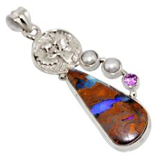 20.45cts natural brown boulder opal amethyst 925 sterling silver pendant r16235