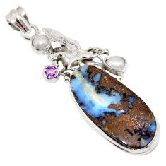 25.15cts natural brown boulder opal amethyst 925 silver unicorn pendant r16236