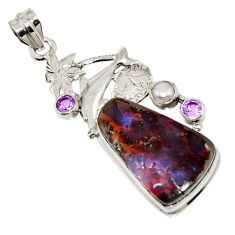 925 silver 25.05cts natural brown boulder opal amethyst dolphin pendant r16237