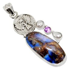 925 silver 23.07cts natural boulder opal amethyst eagle charm pendant r16239
