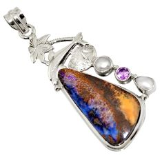 24.59cts natural brown boulder opal amethyst 925 silver dolphin pendant r16240