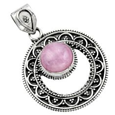 5.30cts natural pink kunzite round 925 sterling silver pendant jewelry r16241