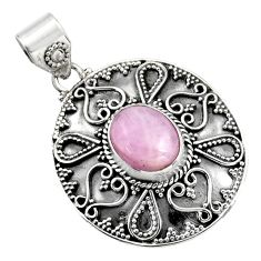5.50cts natural pink kunzite 925 sterling silver pendant jewelry r16243