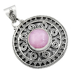 925 sterling silver 4.91cts natural pink kunzite round pendant jewelry r16244