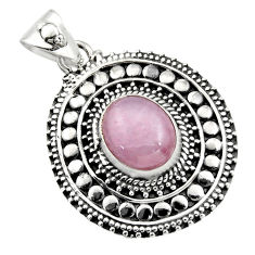 925 sterling silver 5.51cts natural pink kunzite oval pendant jewelry r16248
