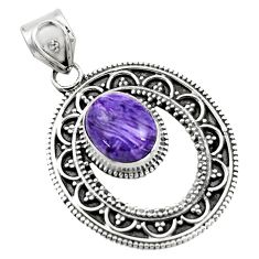 4.92cts natural purple charoite (siberian) 925 sterling silver pendant r16253