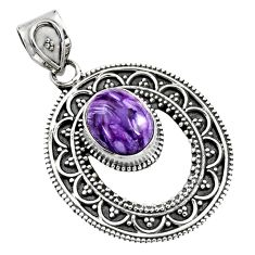 5.10cts natural purple charoite (siberian) 925 sterling silver pendant r16255