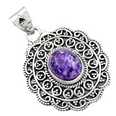 5.43cts natural purple charoite (siberian) 925 sterling silver pendant r16256
