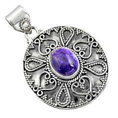 925 sterling silver 4.07cts natural purple charoite (siberian) pendant r16258