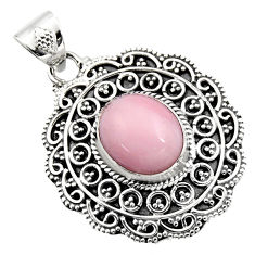 5.17cts natural pink opal 925 sterling silver pendant jewelry r16262