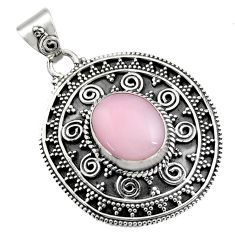 5.34cts natural pink opal 925 sterling silver pendant jewelry r16263