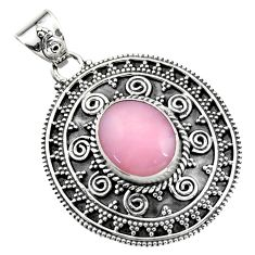 925 sterling silver 5.32cts natural pink opal oval shape pendant jewelry r16264