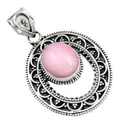5.09cts natural pink opal 925 sterling silver pendant jewelry r16269