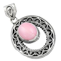 925 sterling silver 5.09cts natural pink opal oval pendant jewelry r16270