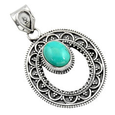 4.21cts natural blue kingman turquoise 925 sterling silver pendant r16273