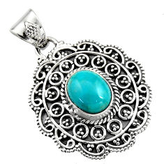 925 sterling silver 4.38cts natural blue kingman turquoise oval pendant r16274