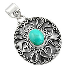 3.91cts natural blue kingman turquoise 925 sterling silver pendant r16279