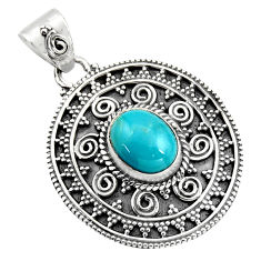 925 sterling silver 4.08cts natural blue kingman turquoise pendant r16280