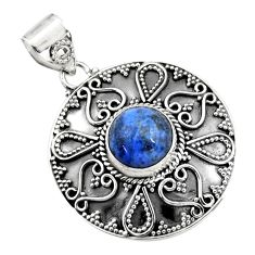 5.01cts natural blue dumortierite 925 sterling silver pendant jewelry r16281