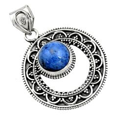 4.93cts natural blue dumortierite 925 sterling silver pendant jewelry r16285