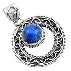 925 sterling silver 5.06cts natural blue dumortierite round pendant r16288