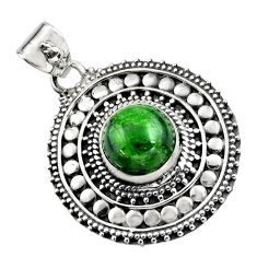 5.35cts natural green chrome diopside 925 sterling silver pendant jewelry r16292