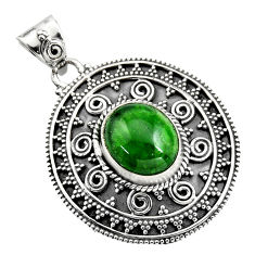 5.08cts natural green chrome diopside 925 sterling silver pendant jewelry r16293